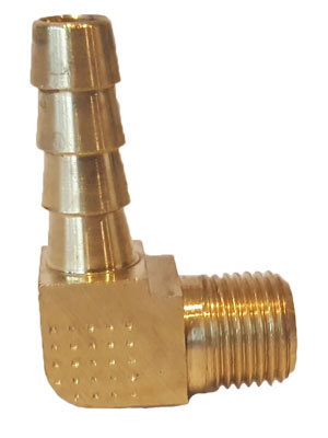"1/8"" Brass Hose Barb 90 Degree Elbow MPT X 1/4"" Hose Barb Connector"