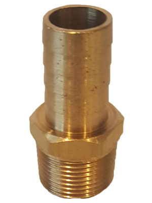 "3/8"" Brass Hose Barb MPT X 1/2"" Hose Connector"