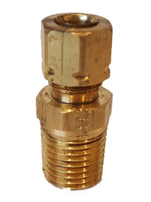 "1/4"" Brass Male X 1/4"" Thread Tubing Connector"